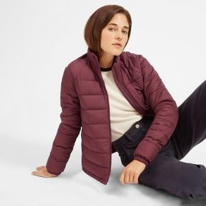 Everlane lightweight burgundy puffer